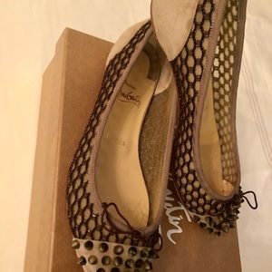 Christian Louboutin nude suede flats in size 37.5
